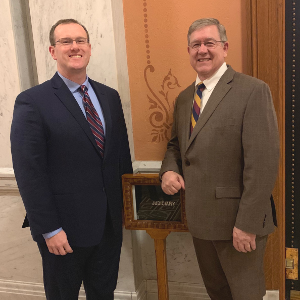 Ohio ACEP Past President Dr. Michael McCrea [left] meets with HB 7 sponsor, Rep. Bob Cupp [right]
